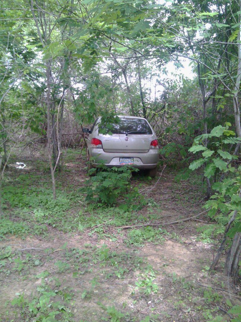 El vehiculo se encontraba en una zona boscosa