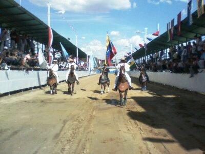 El bosque de banderas recorrió la manga de coleo dando inicio al desfile inaugural