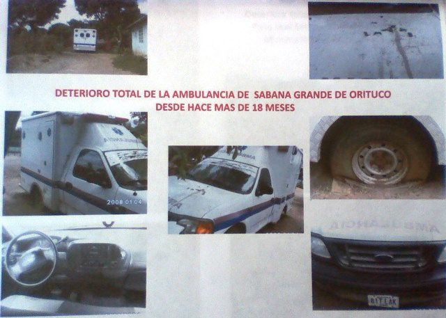 Deterioro total de la ambulancia de Sabana Grande de Orituco