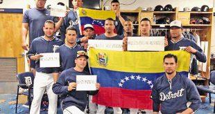 Peloteros venezolanos en contra de represion en las marchas
