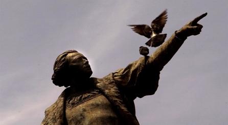 Estatua de Cristóbal Colón en Santo Domingo, en República Dominicana. Foto: Ramón Espinosa / National Geographic