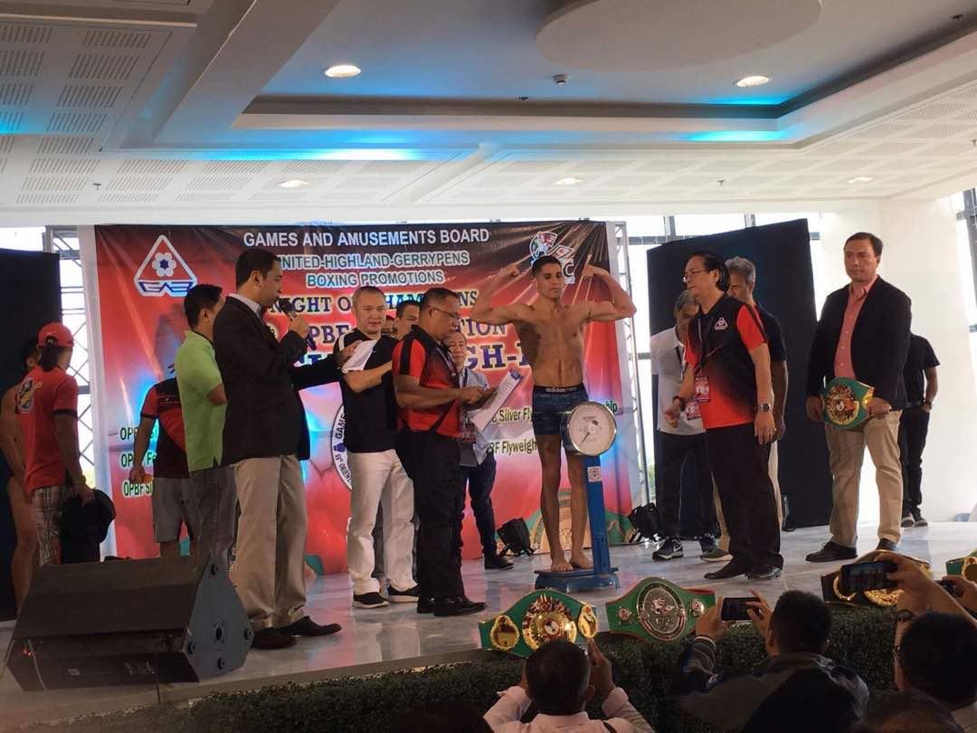 Este 9 de noviembre se realizó el pesaje en el Sm Mall de Puerto Princesa, Palawan, Filipinas donde también se disputará la pelea