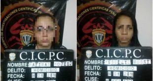 Las mujeres fueron capturadas por los efectivos del Cicpc.