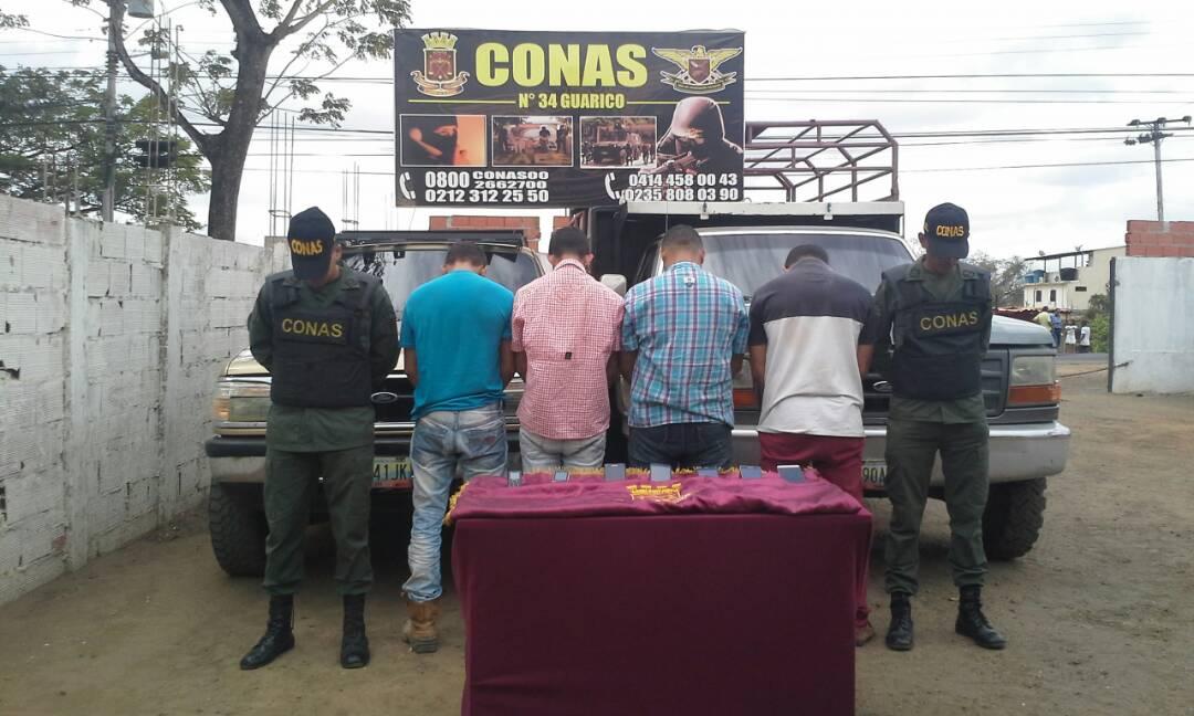 Cuatro aprehendidos cuando pretendían perpetrar extorsión por carro robado