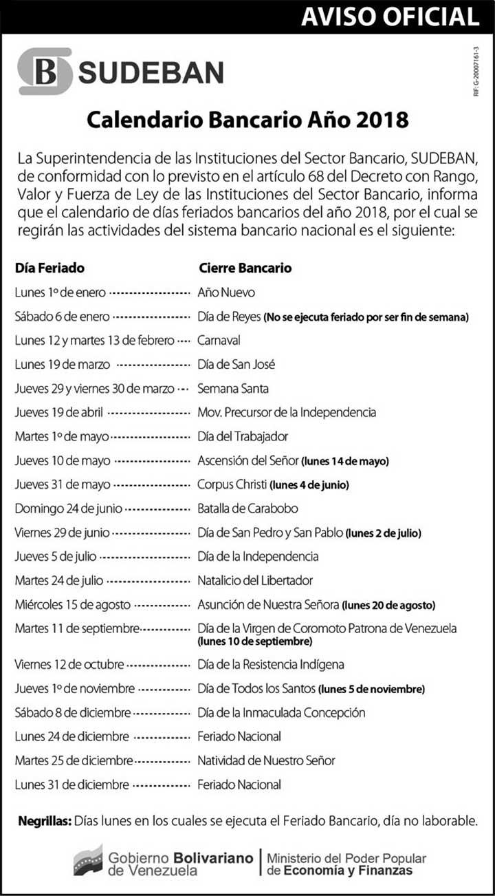 Calendario bancario 2018 emitido por la Sudeban.