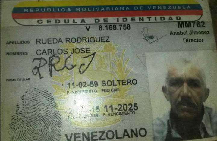 Identificación de Carlos José Rueda Rodríguez de 59 años.