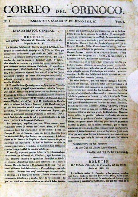 Primera edición del Correo del Orinoco.