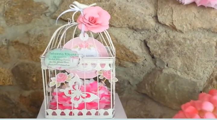 jaula decorativa par la mesa de dulces scrapbook
