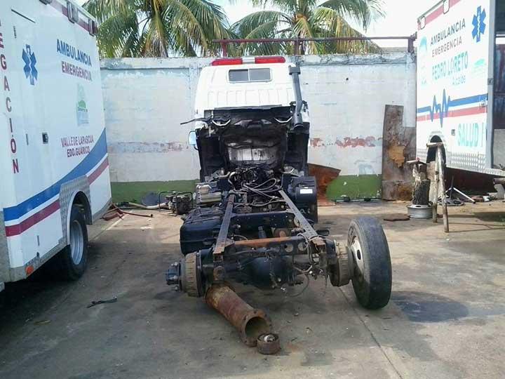 El parque automotor de los bomberos de Infante esta paralizado.