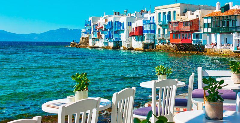 Islas griegas en blanco y azul.