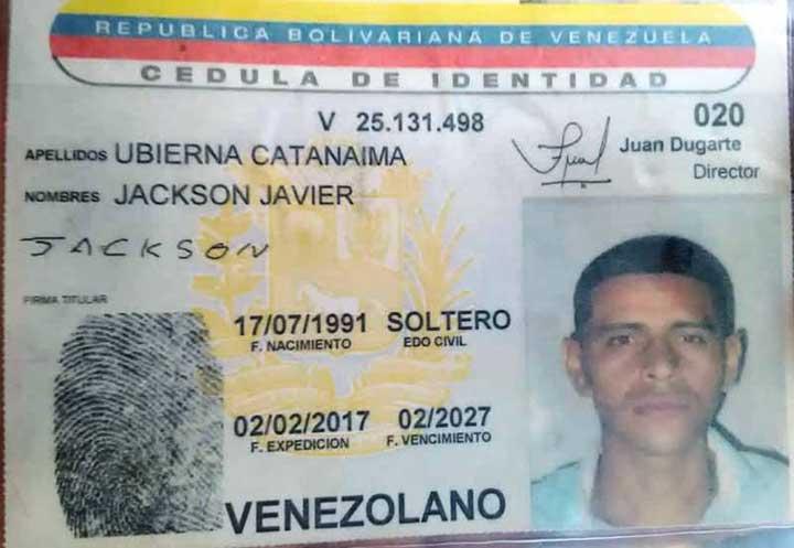 Ubierna Catanaima Jackson Javier 27 años abatido por efectivos de Poliguárico