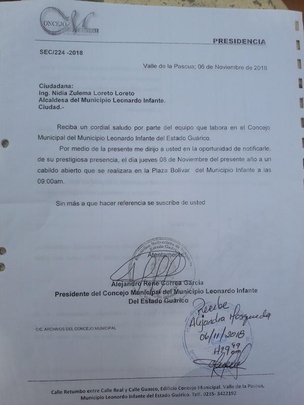 Convocatoria a la alcaldesa y diferentes personalidades del gobierno local