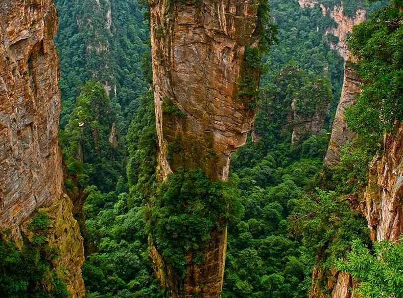 Las pétreas Cumbres de Zhangjiajie, insólito