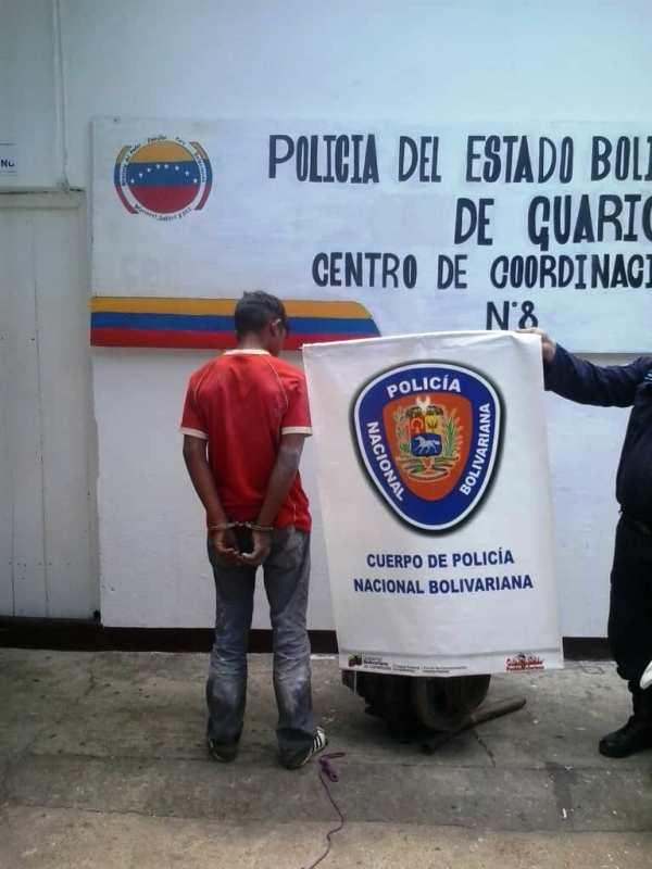El adolescente de 14 años fue apresado por funcionarios de la Policía Nacional Bolivariana (PNB) con el apoyo de funcionarios de la Policía del estado Guárico