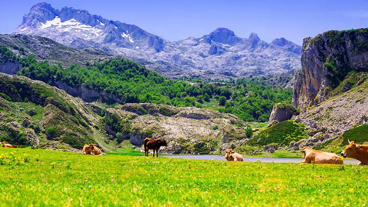 Los picos de Europa, el primer parque nacional de España, hermosos contornos de gran belleza