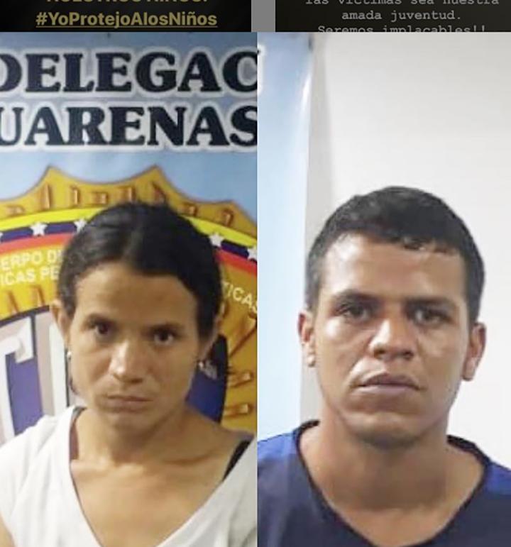 Yoselin Chiquinquirá Guzmán Fernández (28) y Liebano Marrero Marco Antonio (29).