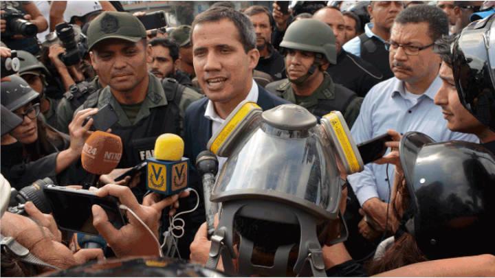 Juan Guaidó en la manifestación llamada para el día 30 de abril.