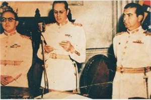Los militares golpistas: Marcos Pérez Jiménez, Carlos Delgado Chalbaud y Luis Felipe Llovera Páez.
