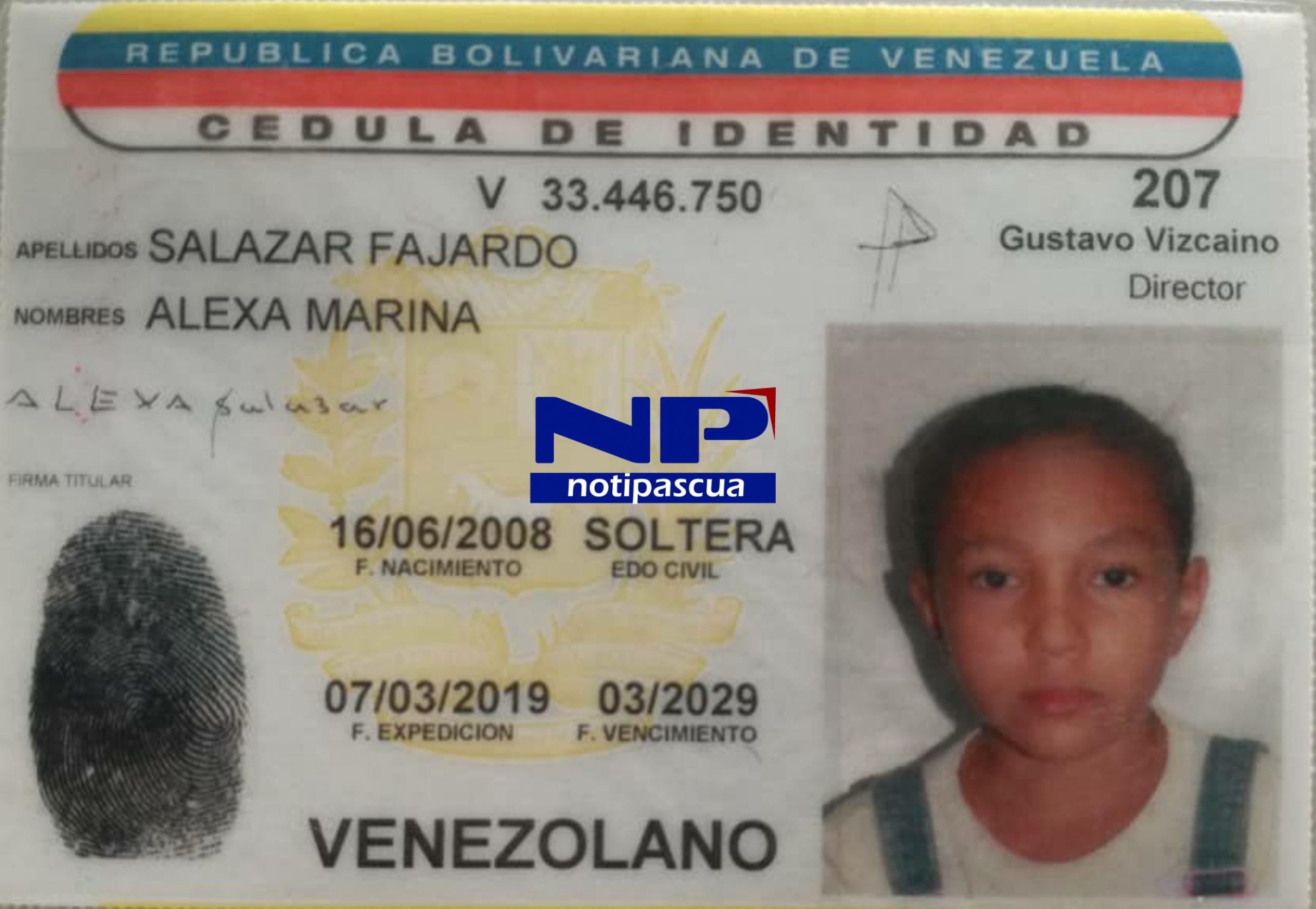 Alexa Marina Salazar de 12 años fue asesinada por un hombre de 36 años en Guárico