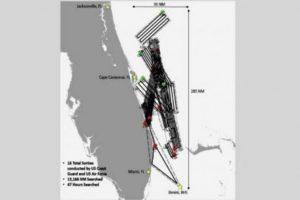 Area de Busqueda del barco desaparecido en el Triangulo de las Bermudas.