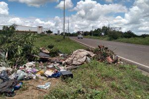 Lotes de basura es lanzado en la Av. Rómulo Gallegos.