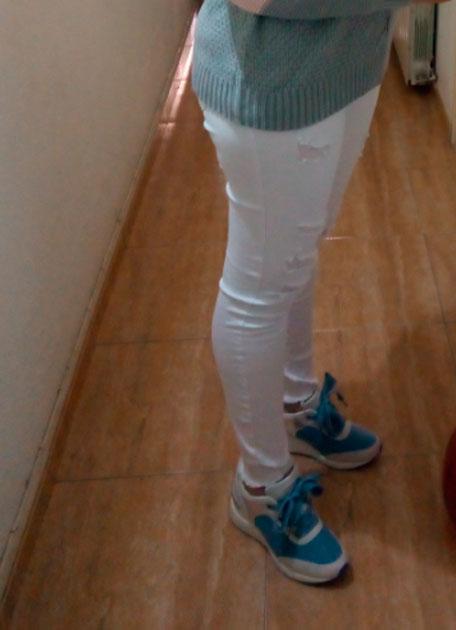 bambas blancas- azules mujer