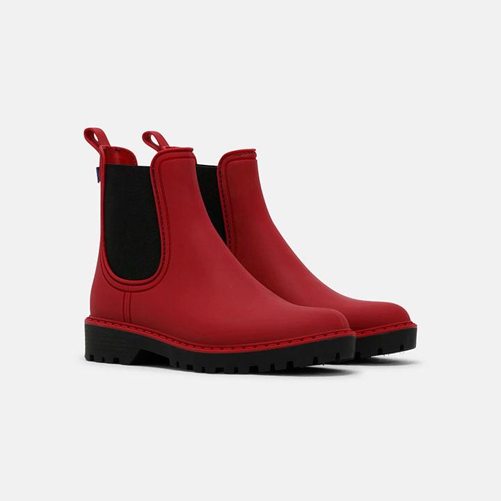 botas agua rojas con elastico